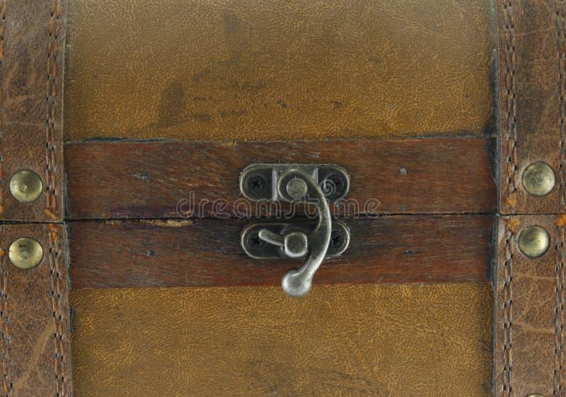 Sujeciones del metal en una maleta de cuero imagen de archivo
