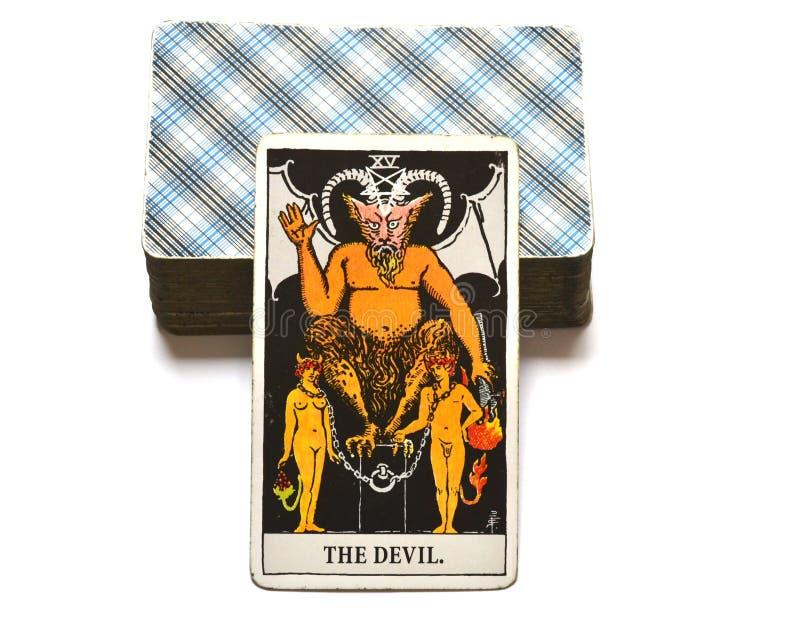 A sujeição do cartão de tarô do diabo, tentação, escravização, materialismo, apegos ilustração do vetor