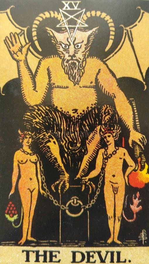 A sujei??o do cart?o de tar? do diabo, tenta??o, escraviza??o, materialismo, apegos ilustração royalty free