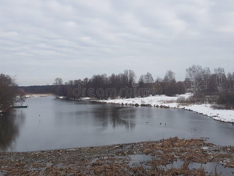 Sujeira e restos no rio, o fruto da ação humana, ecologia má imagem de stock royalty free