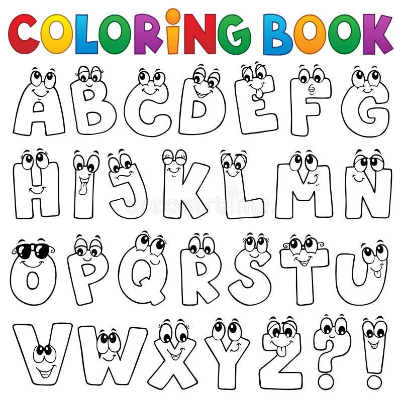 Sujet 1 d'alphabet de bande dessinée de livre de coloriage illustration libre de droits