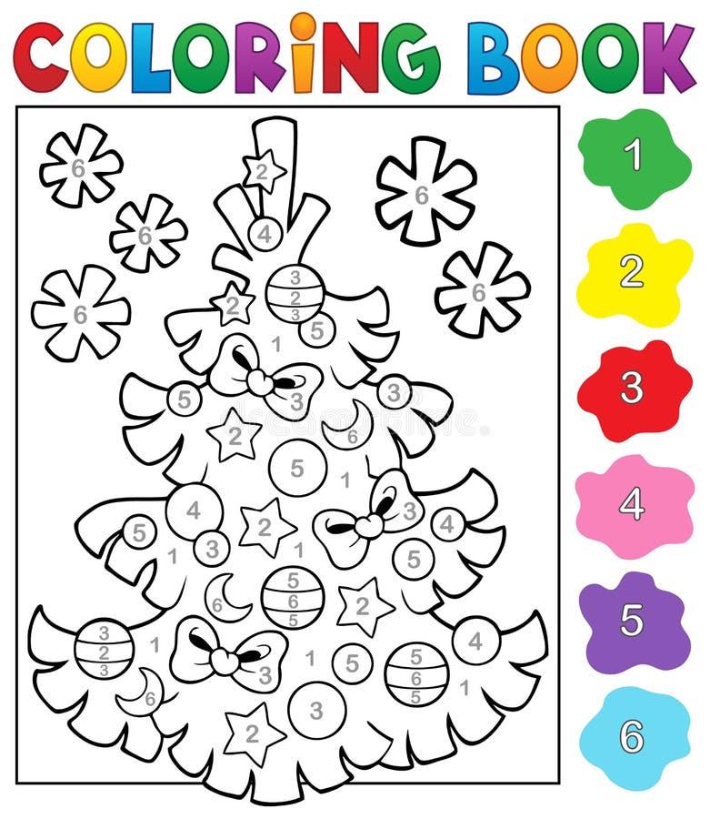 Sujet 4 d'arbre de Noël de livre de coloriage illustration de vecteur