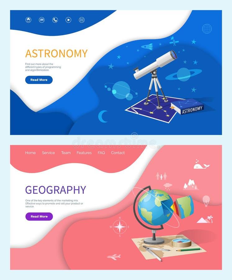 Sujet d'astronomie à l'école, discipline de géographie illustration libre de droits