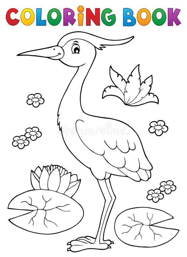 Sujet 4 d'oiseau de livre de coloriage illustration de vecteur
