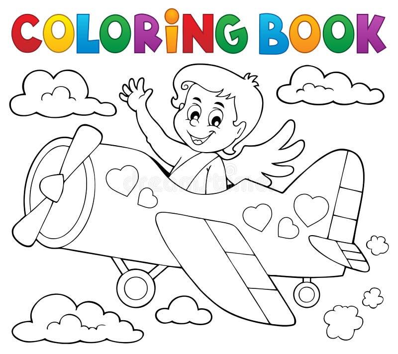 Sujet 5 de cupidon de livre de coloriage illustration de vecteur