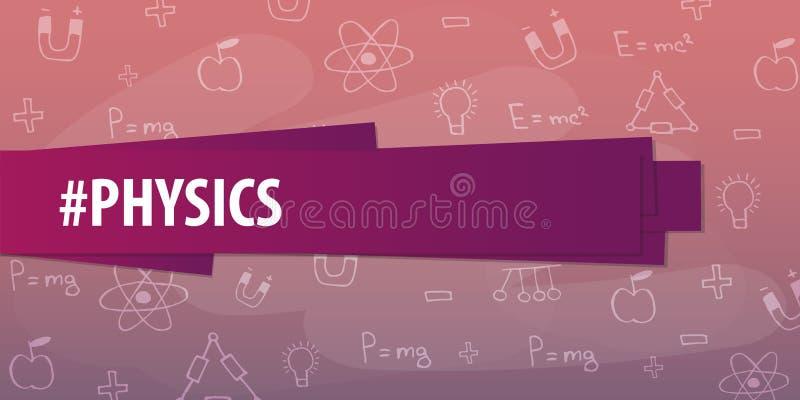 Sujet de physique De nouveau au fond d'école (EPS+JPG) Bannière d'éducation illustration de vecteur