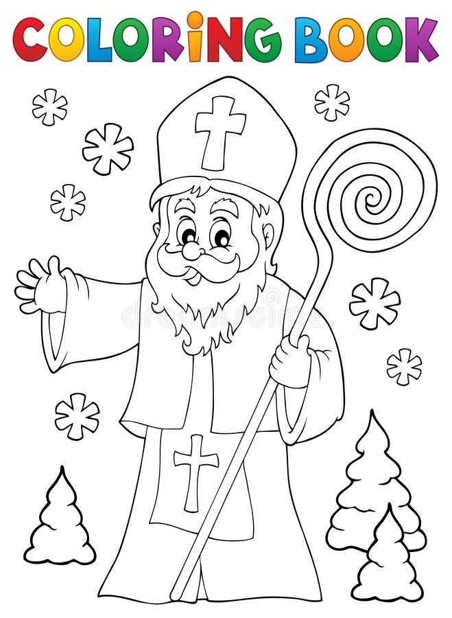 Sujet 1 de Saint-Nicolas de livre de coloriage illustration libre de droits