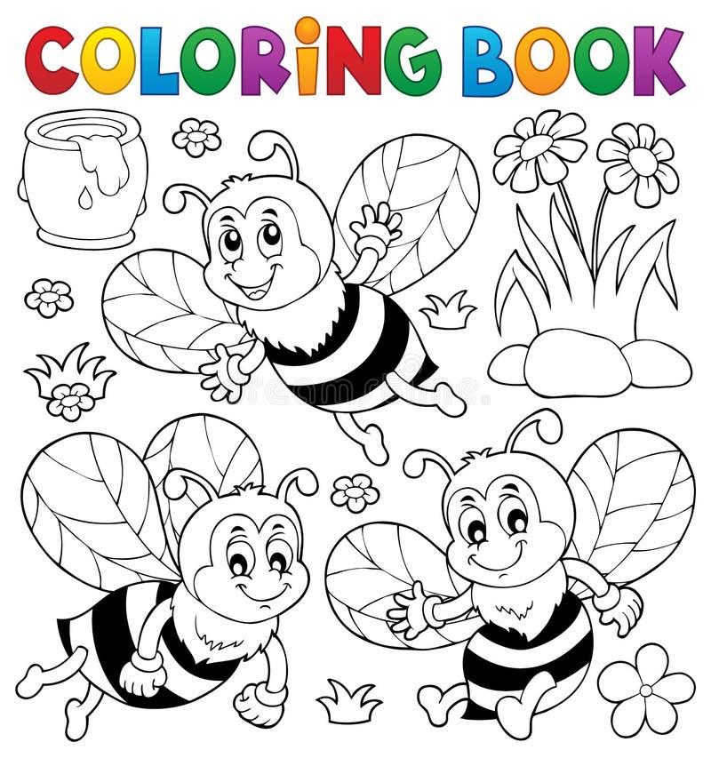 Sujet Heureux 1 D Abeilles De Livre De Coloriage Illustration De