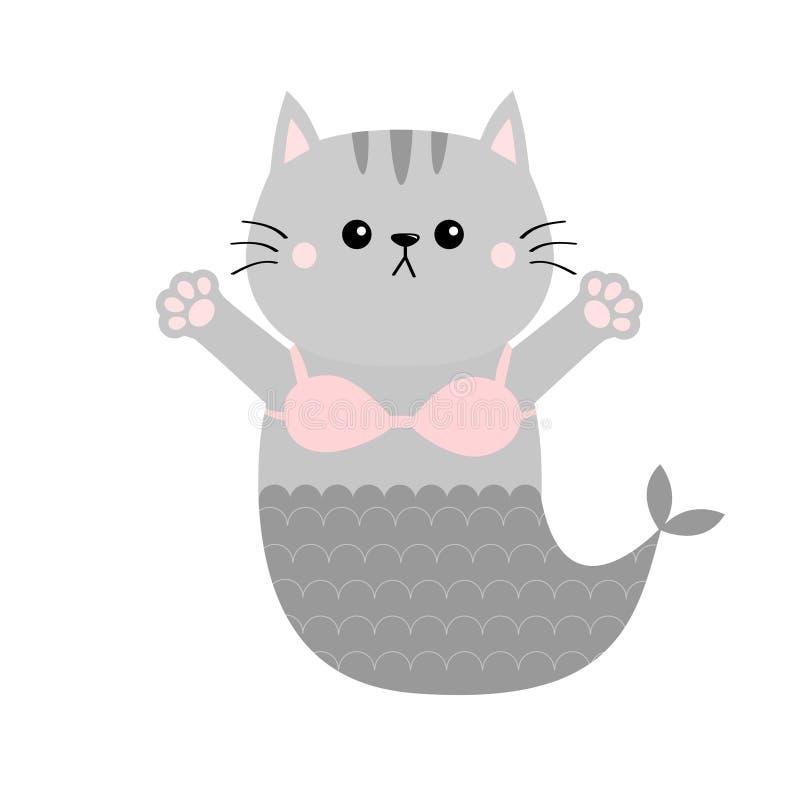 Sujetador del top del sujetador del traje de baño de la cola de los pescados de la sirena del gato Abrazo del gatito Impresión ab libre illustration