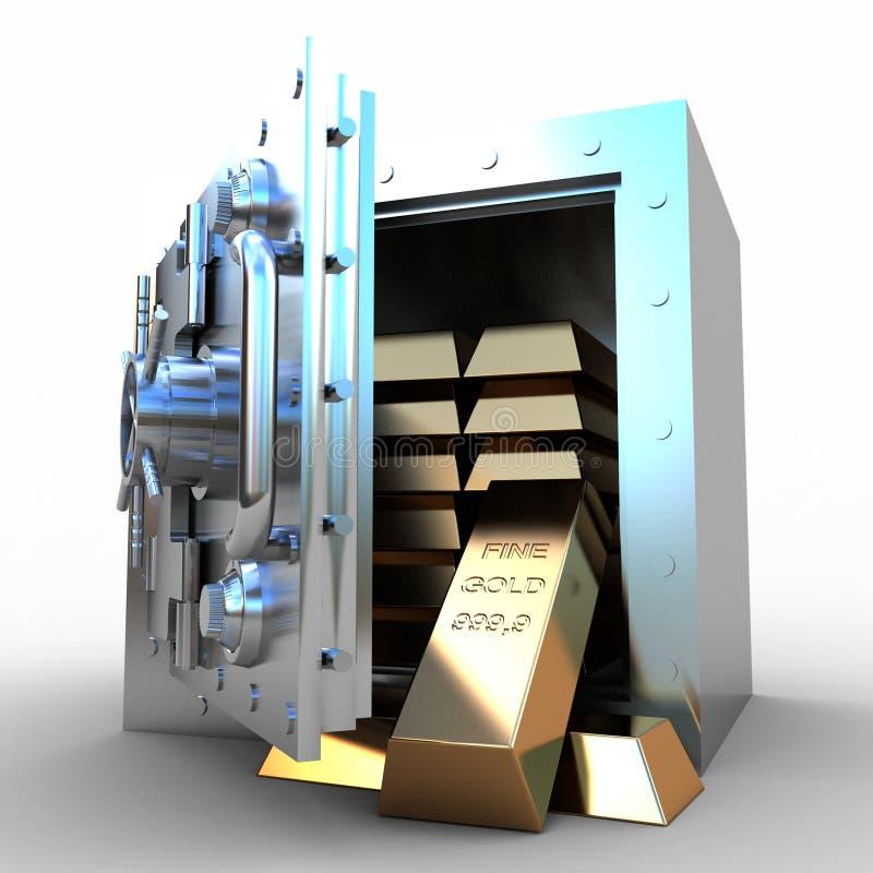 Sujetadores de la caja y del oro de depósito de seguridad en el fondo blanco ilustración del vector