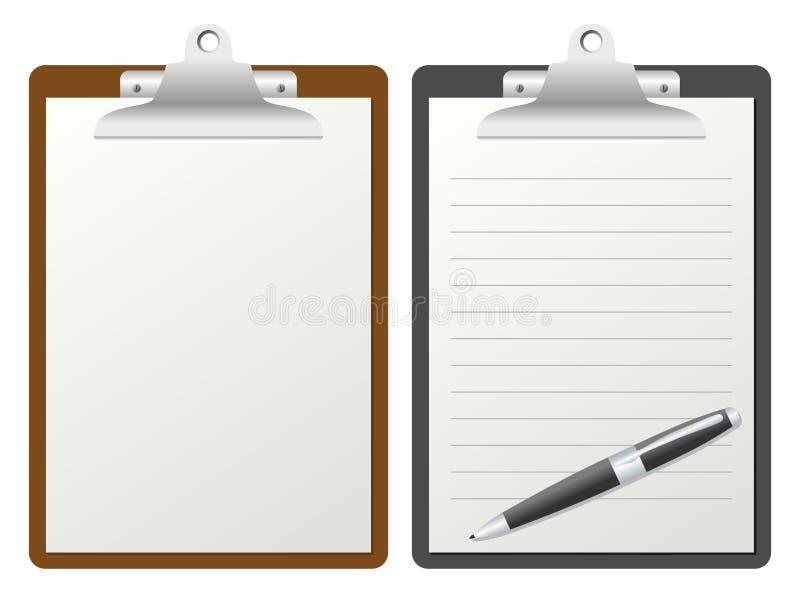 Sujetapapeles con el papel en blanco stock de ilustración