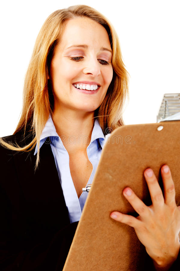 Sujetapapeles de la mujer de la encuesta imagen de archivo