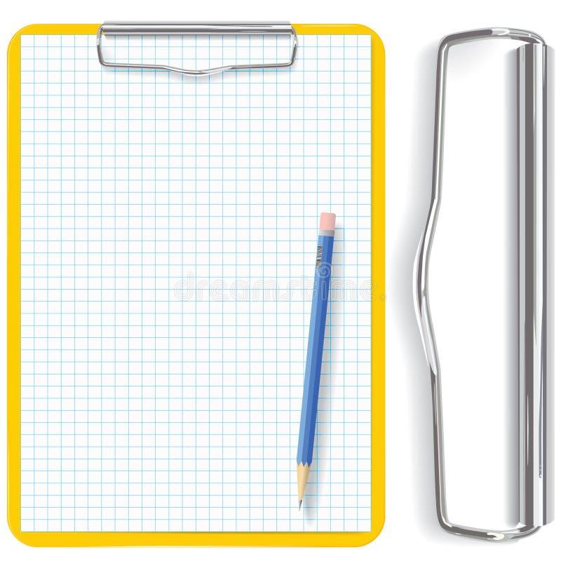 Sujetapapeles del vector, lápiz y hoja del papel stock de ilustración