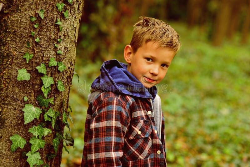 Sujets simples de chaque enfance Le petit garçon apprécient des années d'enfance Le petit jeu de garçon dans l'enfance de forêt e photo stock