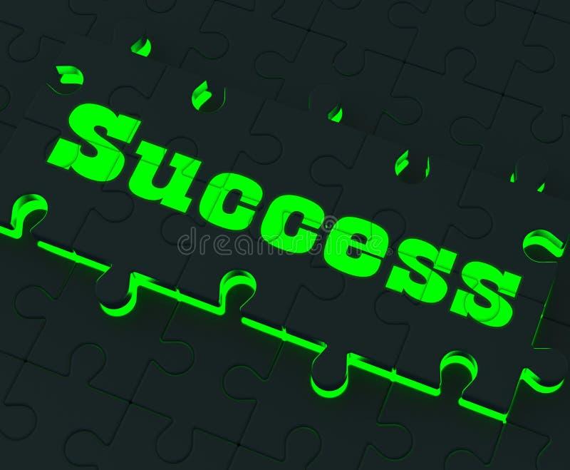 Sukces łamigłówka Pokazuje Pomyślne strategie ilustracja wektor