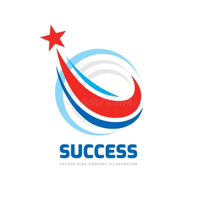 Sukces - abstrakcjonistyczny wektorowy logo Projektów elementy z gwiazda znakiem Rozwoju symbol Postęp ikona Przyrosta i uruchomi royalty ilustracja