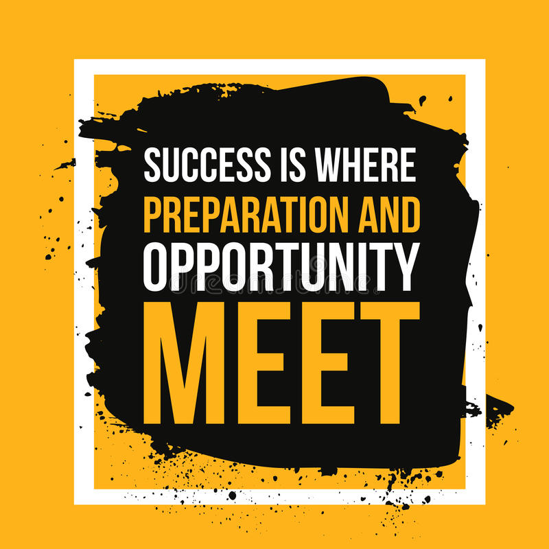 Sukces dokąd przygotowania i sposobności spotkanie Dokonuje cel, w biznesowej motywacyjnej wycena, nowożytna typografia ilustracji