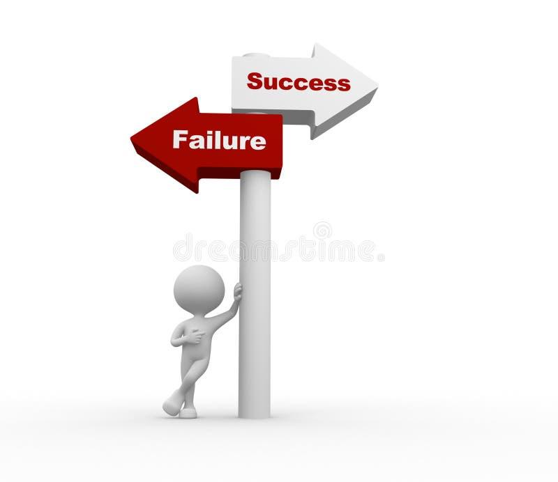 Sukces lub niepowodzenie. ilustracja wektor