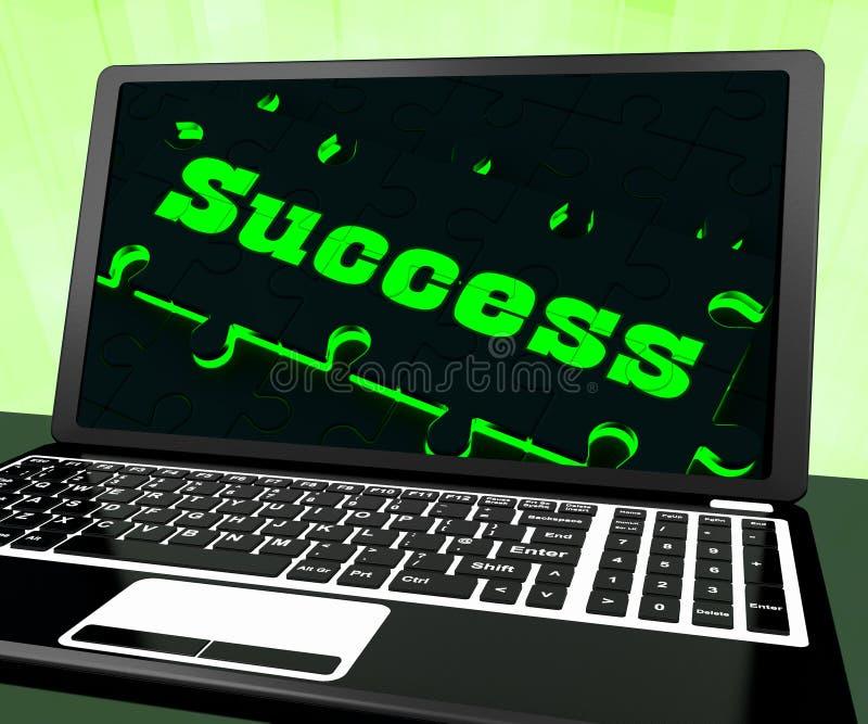 Sukces Na laptopie Pokazuje rozwiązania ilustracji