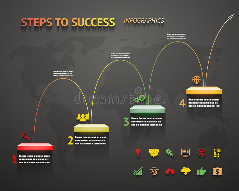 Sukces opcja Kroczy szablon strzała Infographic i schody ilustracja wektor