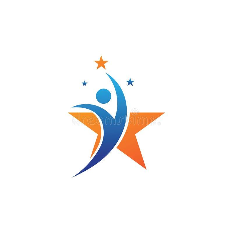 Sukces osób z logo gwiazdy — ilustracja wektora szablonu ilustracji
