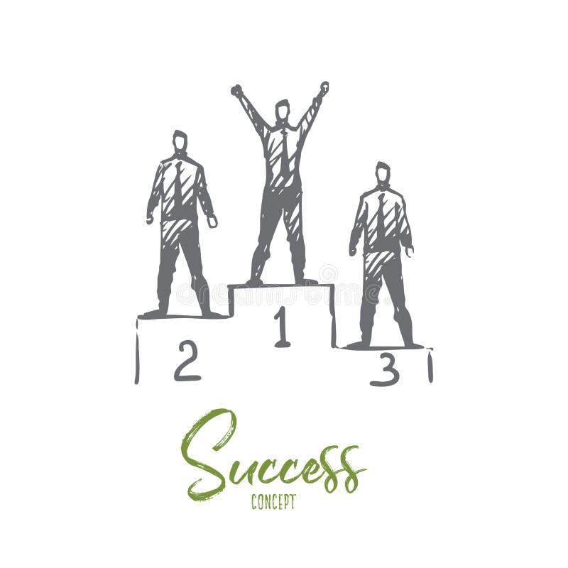 Sukces, osiągnięcie, zwycięzca, lider, nagrody pojęcie Ręka rysujący odosobniony wektor ilustracja wektor