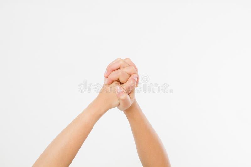 Sukces ręka odizolowywająca na białym tle kosmos kopii zdjęcia stock