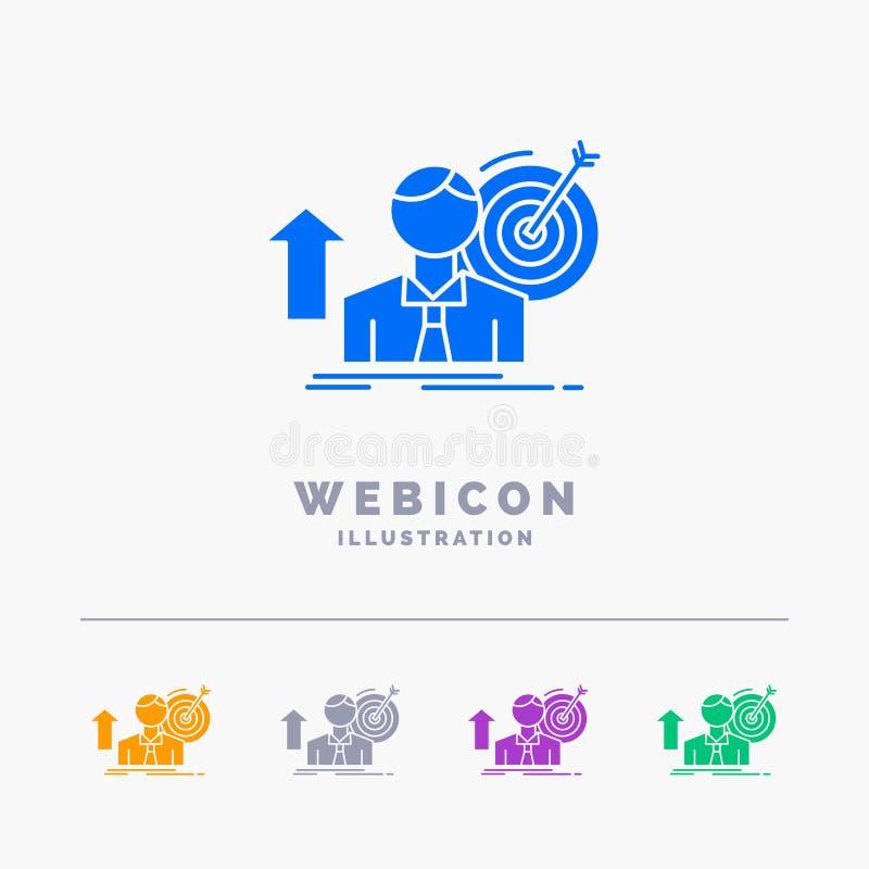 sukces, użytkownik, cel, dokonuje, przyrosta 5 koloru glifu sieci ikony szablon odizolowywający na bielu r?wnie? zwr?ci? corel il ilustracji