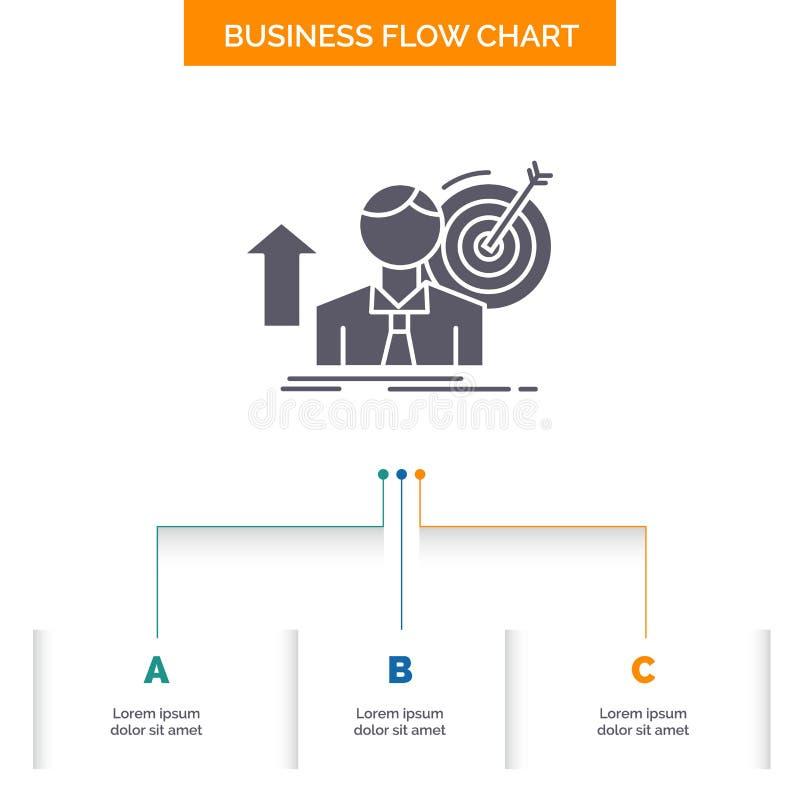 sukces, użytkownik, cel, dokonuje, Wzrostowy Biznesowy Spływowej mapy projekt z 3 krokami Glif ikona Dla prezentacji t?a szablonu royalty ilustracja