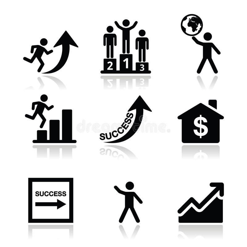 Sukces w biznesie, jaźń rozwoju ikony ustawiać ilustracji