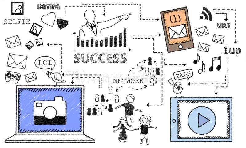 Sukces z Ogólnospołecznymi środkami ilustracja wektor