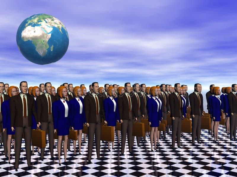 sukces zespołu biznesowego szeroki świat royalty ilustracja