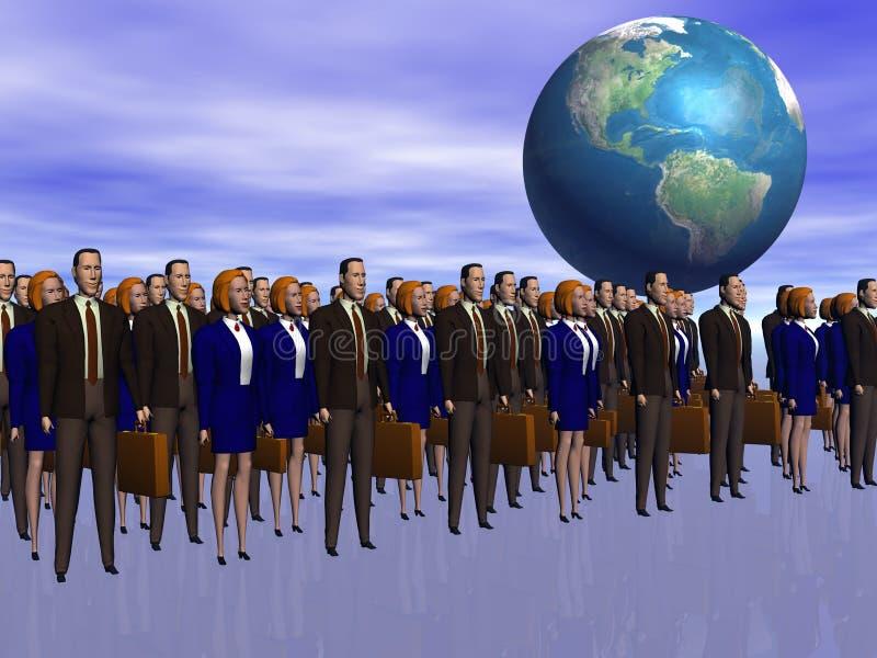sukces zespołu biznesowego szeroki świat ilustracja wektor