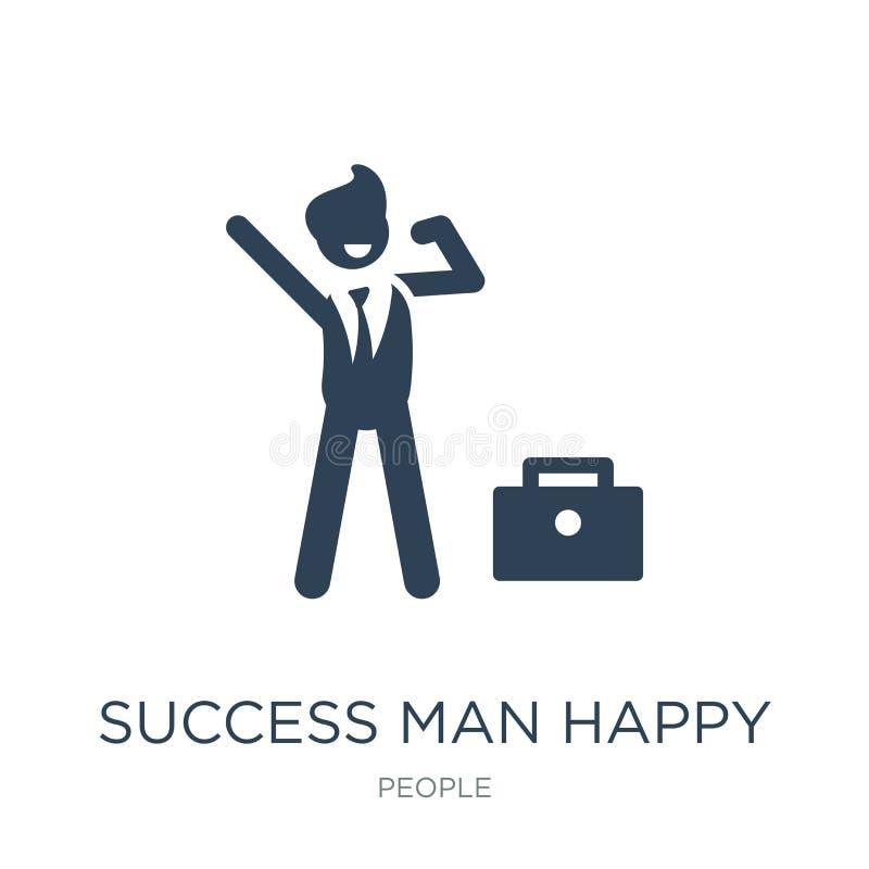 sukcesu mężczyzny szczęśliwa ikona w modnym projekta stylu sukcesu mężczyzny szczęśliwa ikona odizolowywająca na białym tle sukce ilustracja wektor