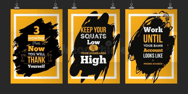 Sukcesu plakatowy ustawiający dla ściany Biznesowej motywaci wycena ustalony pojęcie EPS10 ilustracja wektor