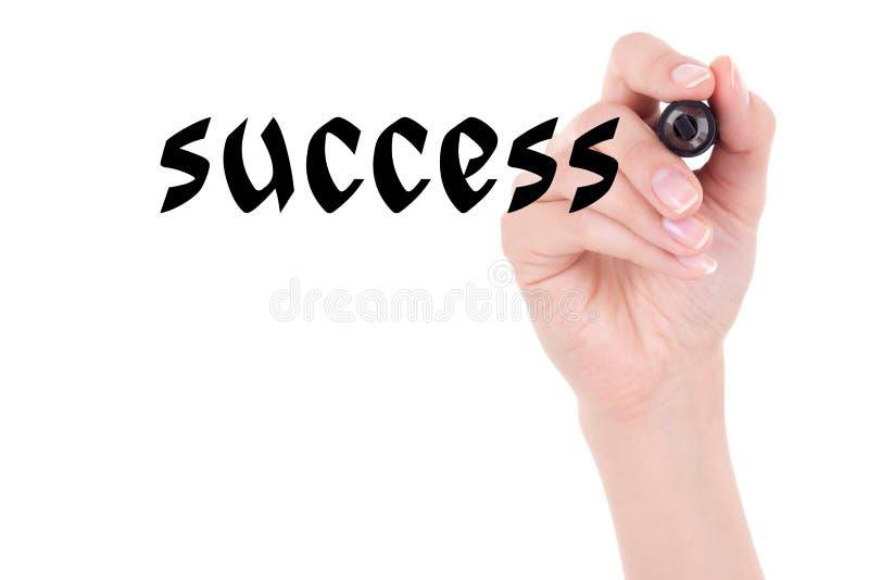 Sukcesu pojęcie - kobiety ręki mienia markier i writing odizolowywający obraz stock