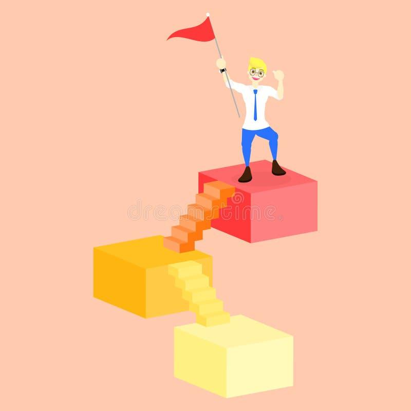 Sukcesu zwycięzcy mężczyzny mienia pozycja na 3d i flaga obciosujemy z schodka kroka drabiną ilustracji