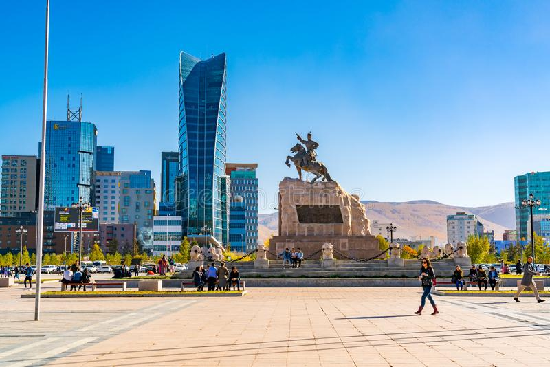 Sukhbaatar Square or Genghis Khan Square with the Statue of Mongolian revolutionary hero Sukhbaatar stock photos