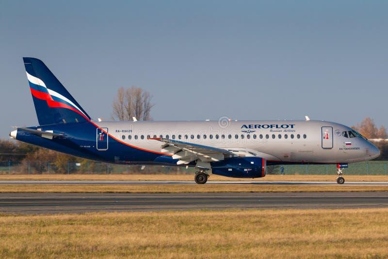 Sukhoi SSJ-100 Aeroflot fotos de stock royalty free