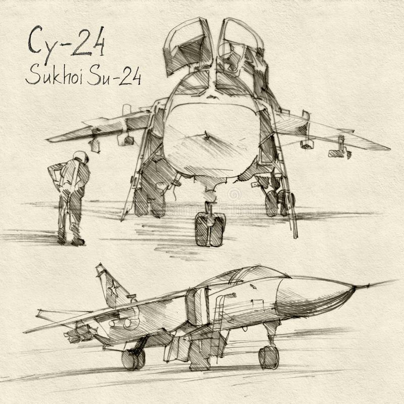 The Sukhoi Su-24. The series of soviet military enginery. The Sukhoi Su-24 a supersonic, all-weather attack aircraft developed in the Soviet Union stock illustration