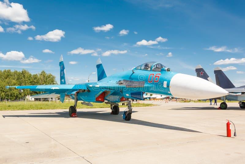 Sukhoi Su-27 (Flanker) русская multirole supermaneuverable истребительная авиация стоковые фото
