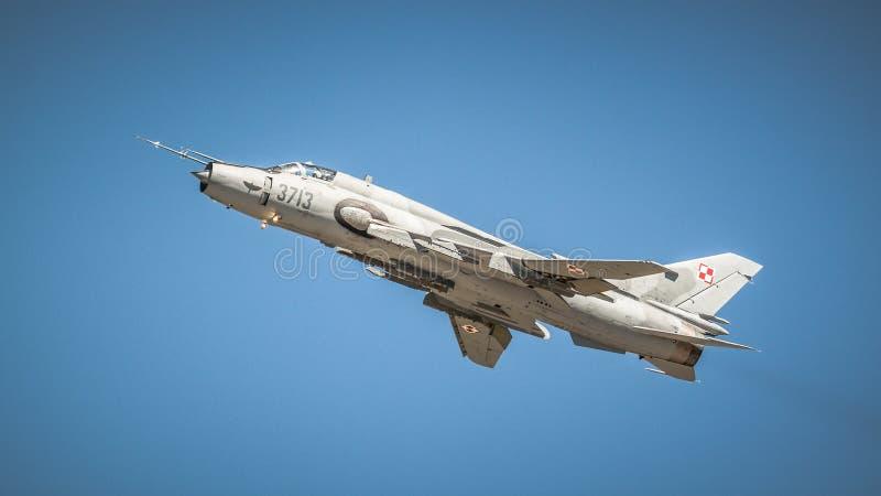 Sukhoi su-22 - Poolse Luchtmacht royalty-vrije stock afbeeldingen