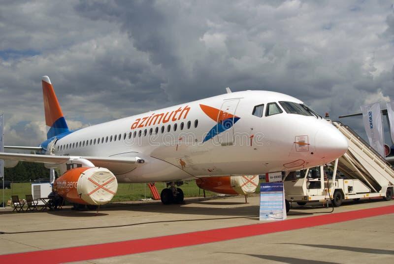 Sukhoi Superjet 100 at MAKS International Aerospace Salon MAKS-2017 royalty free stock photos