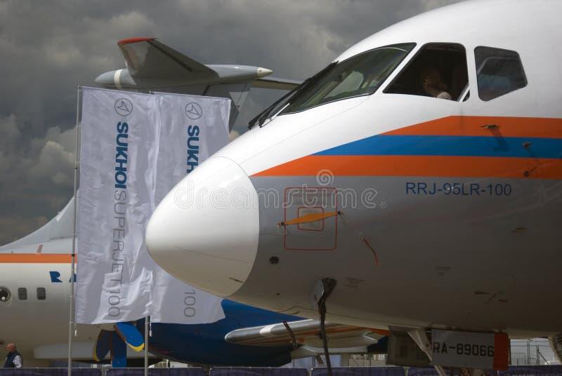 Sukhoi Superjet 100 at MAKS International Aerospace Salon MAKS-2017 royalty free stock image