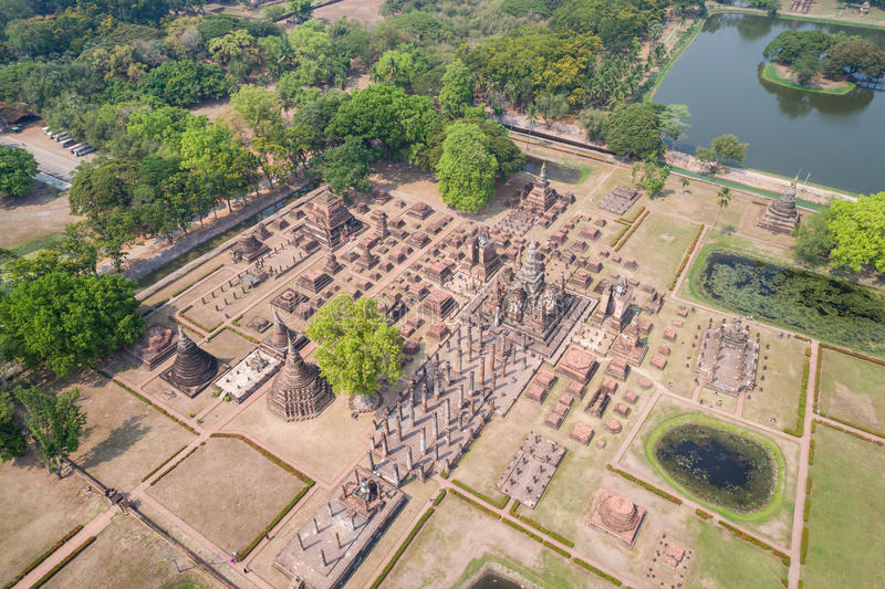 Sukhothai历史公园在Sukhothai,泰国 鸟瞰图 图库摄影