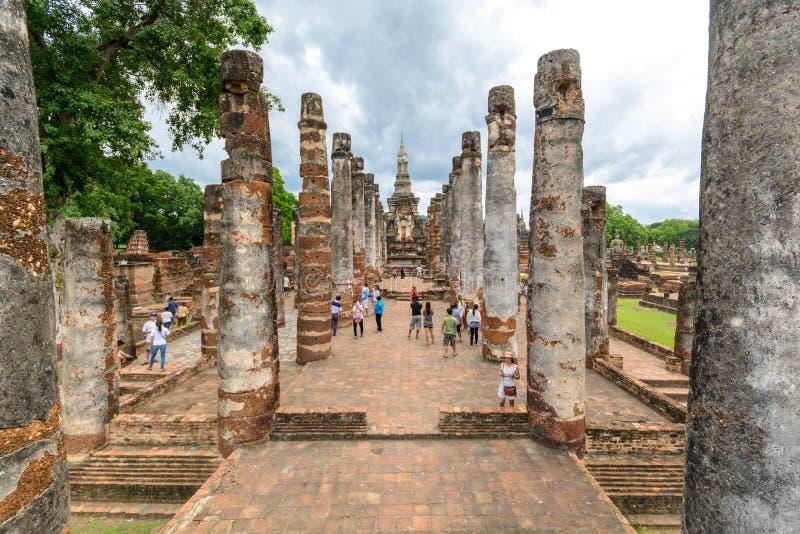 Sukhothai历史公园,泰国的老镇Sukohthai的 免版税库存图片