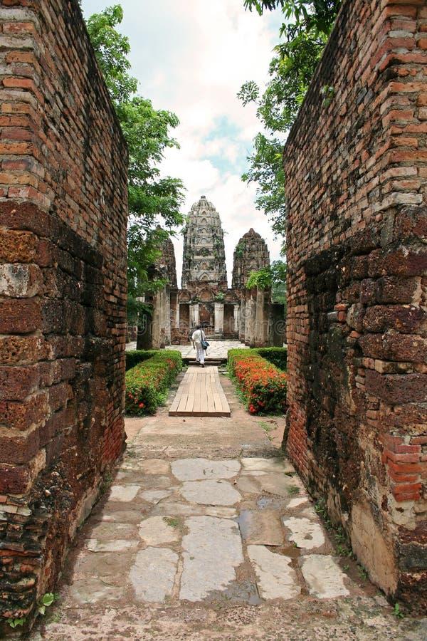 sukhothai寺庙泰国墙壁 免版税图库摄影