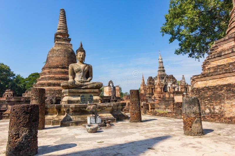Sukhothai é um centro histórico, e a primeira capital de Siam Thought a ser a origem da arte e da cultura tailandesas foto de stock