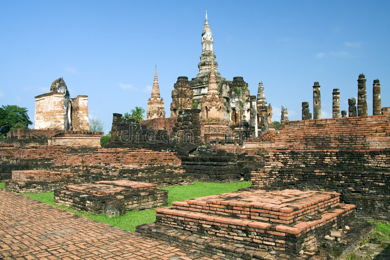 Sukhothai. Ruins in old Sukhothai, Thailand stock photo