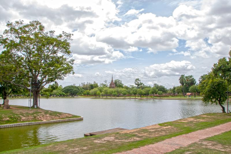 Sukhothai. Channel in Sukhothai historical park in Thailand stock photo